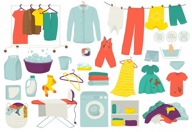 Wasserij, schone en vuile kleren, wasset illustraties. kleding gewassen en strijken pictogrammen. wasmachine, wasmachine, mand, wasmiddel, zeep en wasserette.