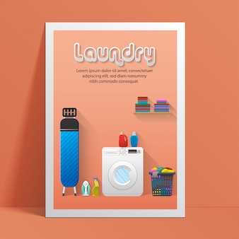 Wasserij sjabloon voor spandoek met wasserij kamer weergave