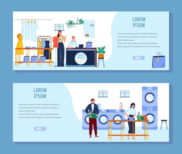 Wasserij, stomerij vector illustratie set, cartoon mensen schone kleren in wasserette, schoonmakers werken in schoonmaak service