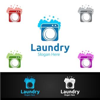 Wasserij stomerijen logo met kleding, water en wassen conceptontwerp