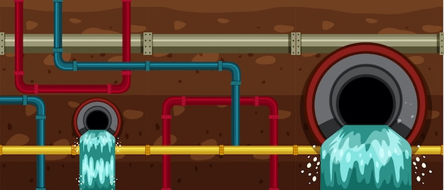 Waste pipe underground in big city
