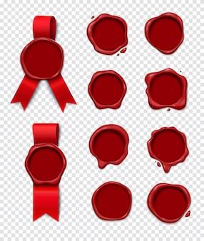 Waszegel transparante set realistische 3d-verzameling van geïsoleerde lakzegel afbeeldingen met lege cirkel ruimte