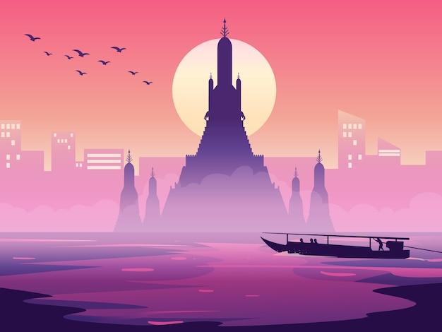 Wat arun thailand-silhouet.