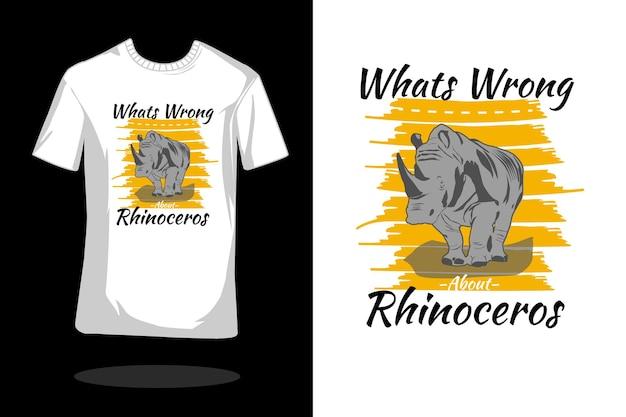 Wat is er mis met neushoorn silhouet vintage t-shirtontwerp?