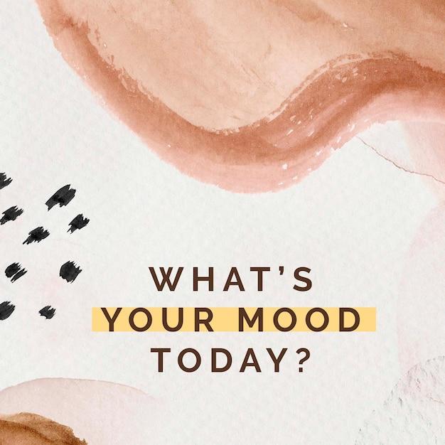 Wat is jouw stemming vandaag? sociale sjabloon met aquarel memphis-patroon