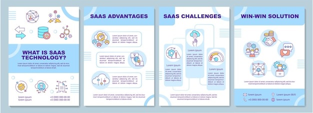 Wat is saas-technologie brochure sjabloon illustratie