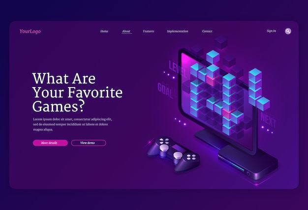 Wat je favoriete games-banner. ontwikkeling van video- en online games, digitale gadgets voor spelers. bestemmingspagina met isometrische computermonitor, console en joystick