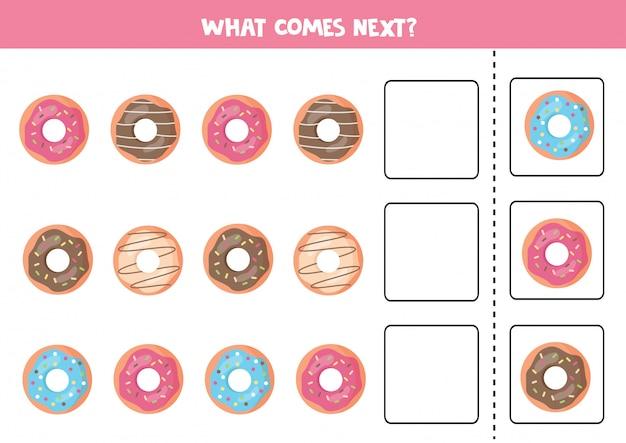 Wat komt er daarna met donuts. voltooi het patroon. educatief spel voor kleuters.
