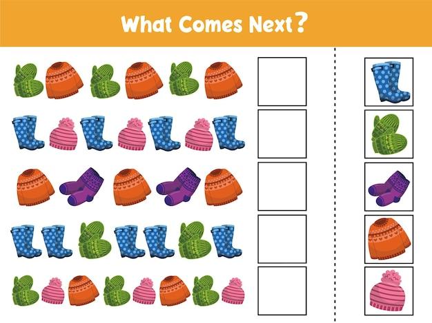 Wat komt er daarna met winteroutfits educatief spel voor kinderen voltooi de reeks