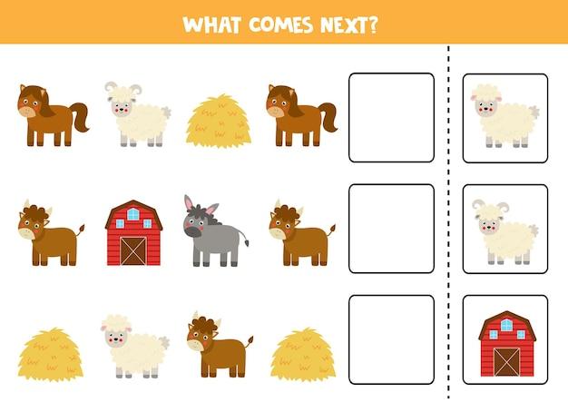 Wat komt er volgende game met schattige boerderijdieren. educatief logisch spel voor kinderen.