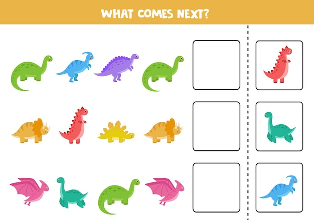 Wat komt er volgende game met schattige cartoon-dinosaurussen. educatief logisch spel voor kinderen.