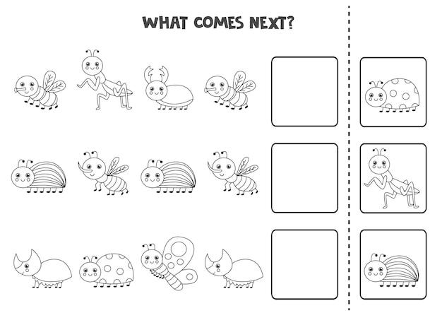 Wat komt er volgende game met schattige zwart-witte insecten. educatief logisch spel voor kinderen.