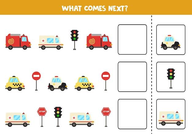 Wat komt er volgende game met tekenfilmvervoermiddelen. educatief logisch spel voor kinderen.