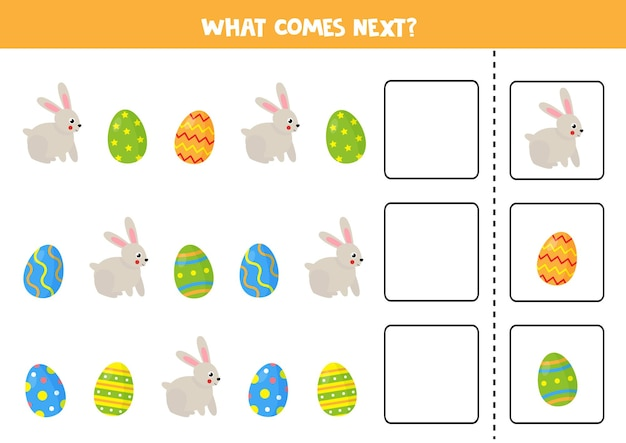 Wat komt er volgende spel met schattig konijn en paaseieren. educatief logisch spel voor kinderen.