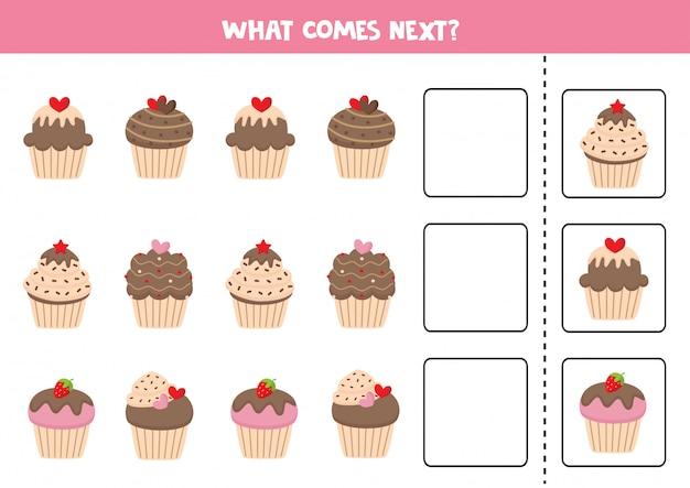 Wat volgt. schattige cartoon muffins. educatief spel.