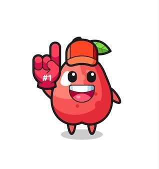 Water appel illustratie cartoon met nummer 1 fans handschoen, schattig stijl ontwerp voor t-shirt, sticker, logo element