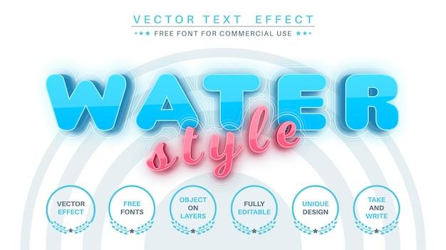 Water - bewerkbaar teksteffect, lettertypestijl.
