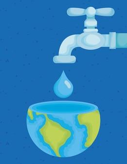 Water dag illustratie met kraan en wereld planeet in drop