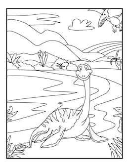 Water dinosaurus kleurplaten voor kinderen