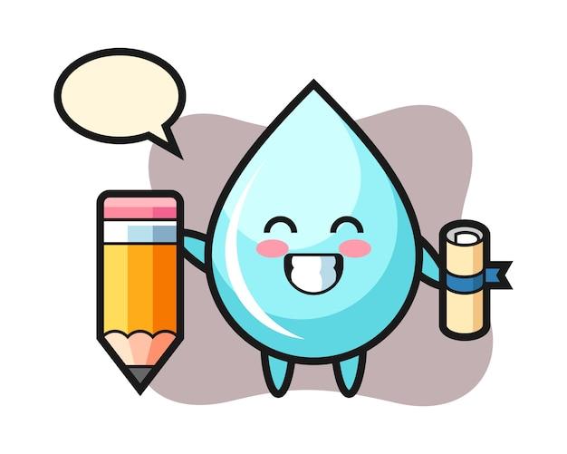 Water drop illustratie cartoon is afstuderen met een gigantisch potlood, schattig stijlontwerp voor t-shirt