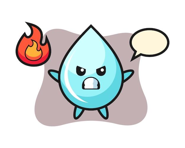 Water drop karakter cartoon met boos gebaar, schattig stijl ontwerp voor t-shirt
