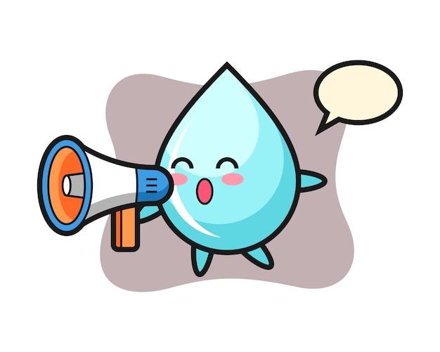 Water drop karakter illustratie met een megafoon, schattig stijlontwerp voor t-shirt
