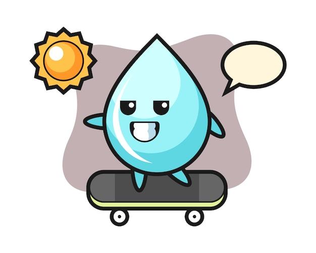 Water drop karakter illustratie rijden op een skateboard, schattig stijlontwerp voor t-shirt