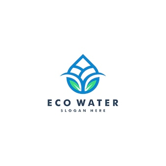 Water en blad logo ontwerp. natuur logo