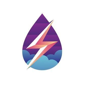 Water en bliksemschicht logo-ontwerp