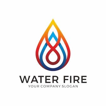 Water en vuur logo-ontwerp