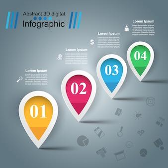 Water illustratie. infographic sjabloon en marketing pictogrammen.