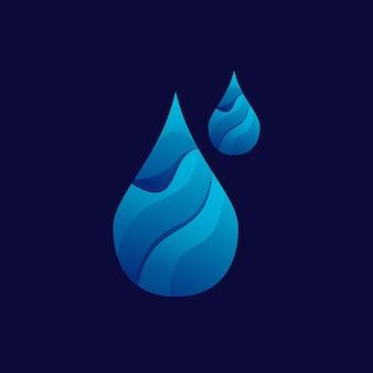 Water logo kleurrijke gradiënt illustratie