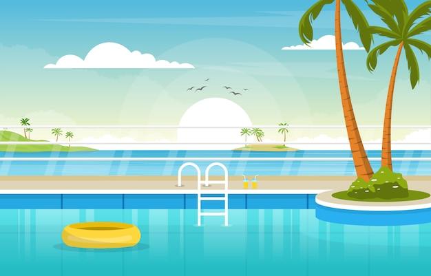 Water openlucht zwembad hotel natuur ontspannen weergave illustratie