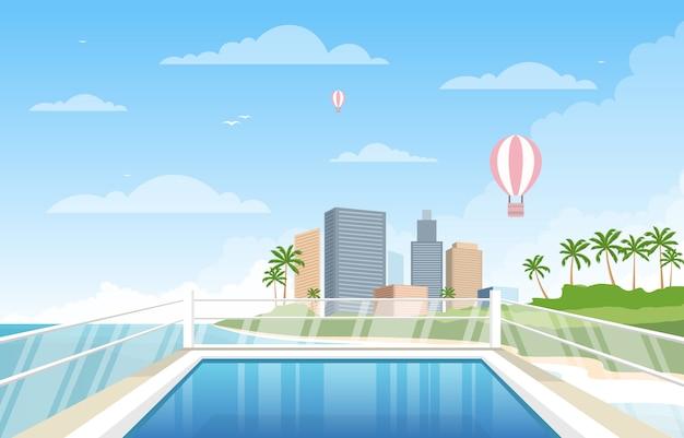 Water openlucht zwembad hotel stad ontspannen weergave illustratie