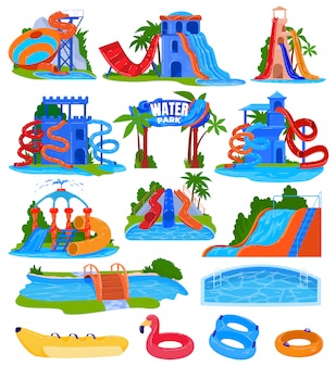 Water pretpark vector illustratie set.