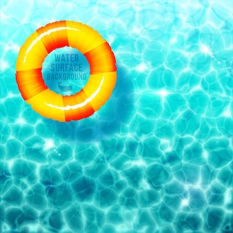 Water rimpel achtergrond met rubberen ring op het wateroppervlak