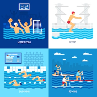 Water sport card set illustratie