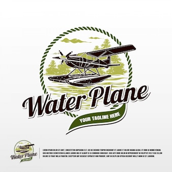 Water vliegtuig logo sjabloon