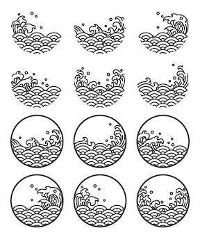 Water wave lijn logo symbolen.