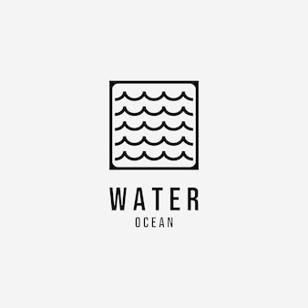 Water wave vector logo lijntekeningen, illustratie ontwerp van ocean lake river minimalistisch concept creatief, minimaal water symboolpictogram