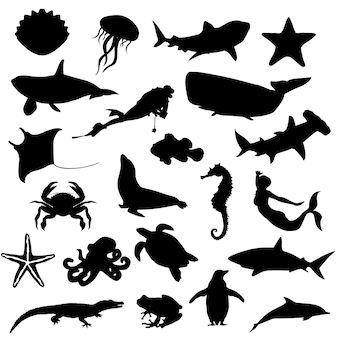 Water zee rivier dieren silhouet illustraties
