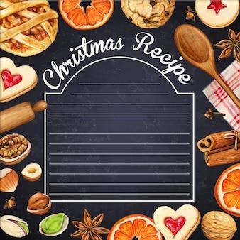 Watercolo hipsterr bord met kerstkruiden en koekjes
