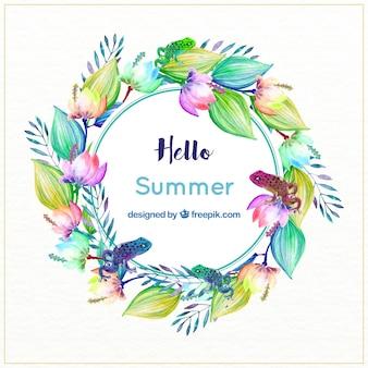 Watercolor bloemen krans met kikkers in tropische stijl