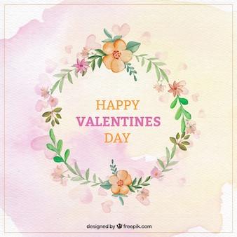 Watercolor bloemenkroon voor valentijnsdag