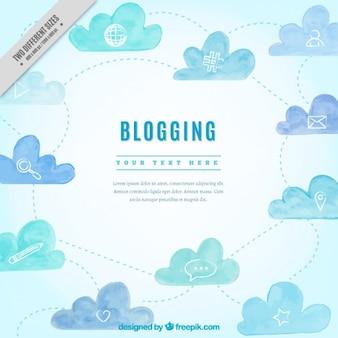 Watercolor blog achtergrond met pictogrammen en wolken