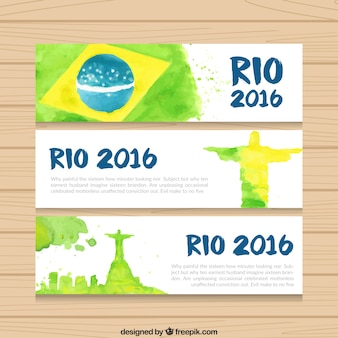 Watercolor brazil 2016 banners