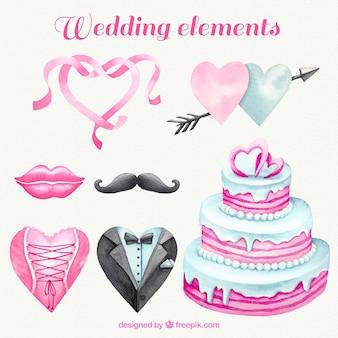 Watercolor bruiloft accessoires van de decoratie