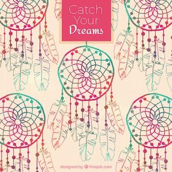 Watercolor dreamcatchers achtergrond