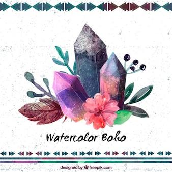 Watercolor edelstenen met bloemen