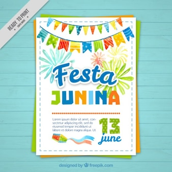 Watercolor festa junina brochure